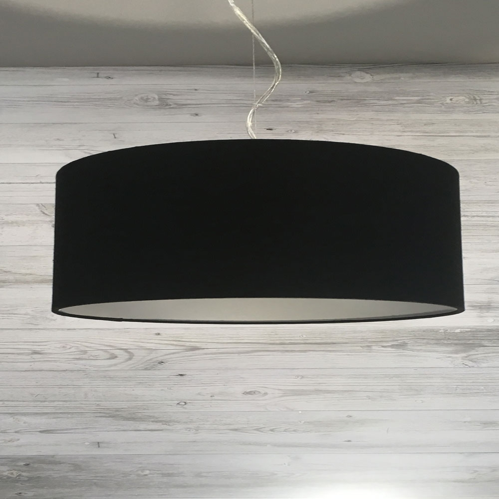 Large Black and Silver Drum Shade